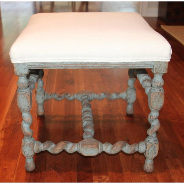 Early 18th Century Swedish Baroque Period Square Stool, 18th Century Antique For Sale - Image 5 of 8
