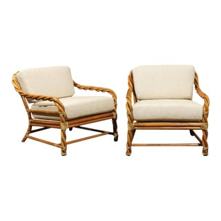 Coveted Pair of Restored Braided Rattan Loungers by McGuire, circa 1980