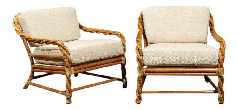 Coveted Pair Of Restored Braided Rattan Loungers By McGuire, Circa 1980 For  Sale