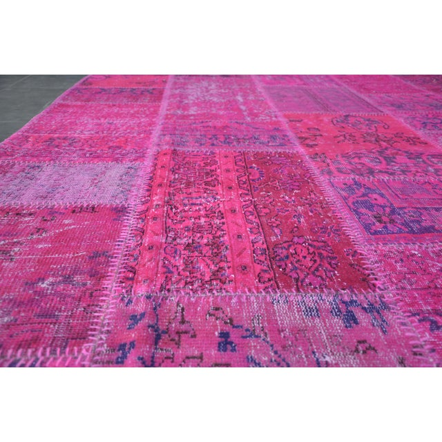 Pink Pink Overdyed Turkish Anatolian Patchwork Carpet - 7′1″ × 10′ For Sale - Image 8 of 11