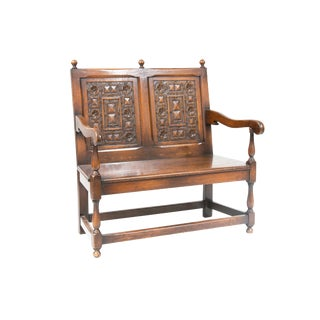 Early 20th Century Dutch Carved Oak Settee Bench For Sale