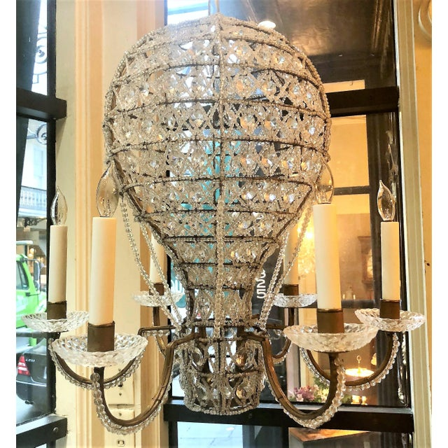 "Early 20th Century Estate Crystal Beaded Balloon Chandelier Called ""Montgofier"" For Sale - Image 5 of 5"