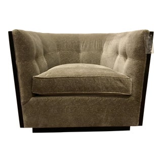 Kravet Modern Gray Velvet Lido Swivel Chair For Sale