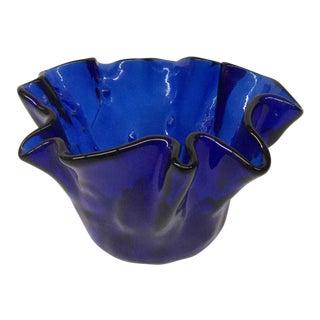 Vintage Cobalt Glass Ruffled Vase For Sale