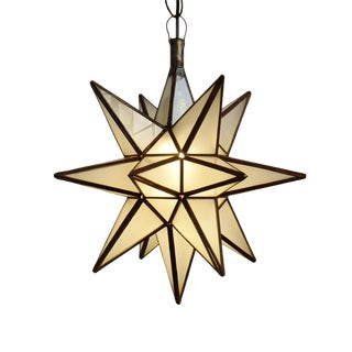 Frosted White Moroccan Star Lantern Medium For Sale
