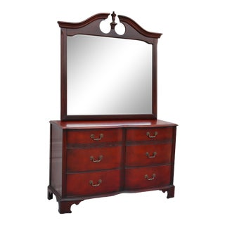 1970s Drexel Mahogany 6 Drawer Dresser With Mirror For Sale
