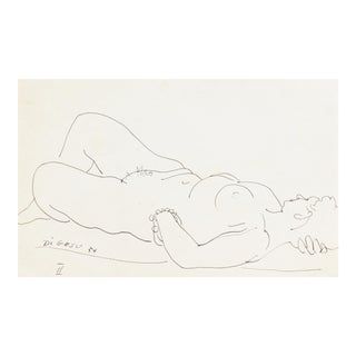 'Reclining Nude' by Victor DI Gesu, 1954; California Post-Impressionist, Louvre, France For Sale