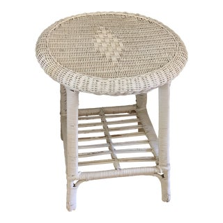 Rustic Vintage Wicker Wood Side Table For Sale