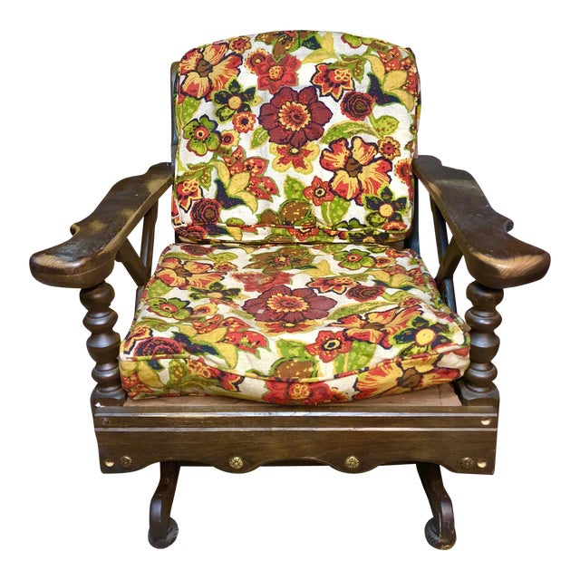 Mid-Century Floral Print Bantam Rocker For Sale