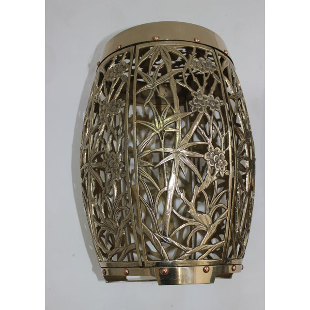 Garden Stools Bamboo Crane Bird Cherry Blossom Motif in Polished Brass Fretwork - a Pair For Sale - Image 9 of 11