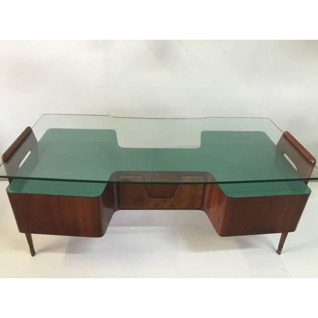 Paolo Buffa Rosewood Desk by Paolo Buffa with Floating Glass Top For Sale - Image 4 of 9