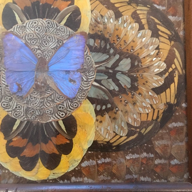 1940's Art Deco Real Butterfly Wing Inlay Tray Platter For Sale - Image 4 of 8