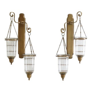 Unusual Brass Candelabra Sconces W. Glass Globes - A Pair For Sale