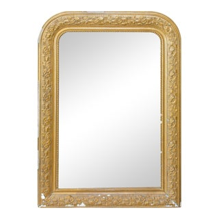 Antique French Distressed Gilt Finish Louis Philippe Mirror With Floral Details For Sale
