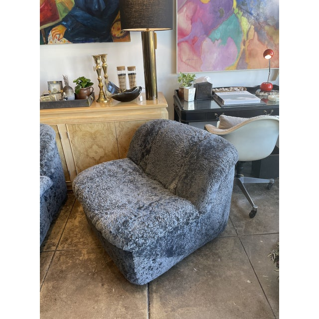 Cozy and large cadet gray curly shearling swivel chair! Newly reupholstered from top to bottom in a plush sheepskin. The...