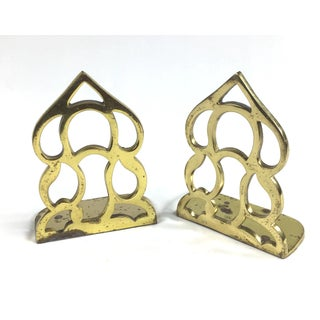 Abstract Carved Brass Bookends - a Pair Preview