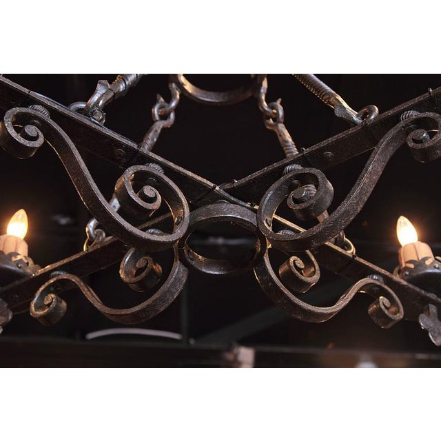 Black 19th Century French Gothic Black Hand-Forged Wrought Iron Four-Light Chandelier For Sale - Image 8 of 10