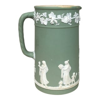 Jasperware Wedgwood Green Jug/Pitcher For Sale