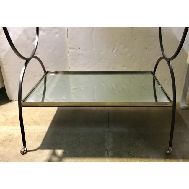 Hollywood Regency Hollywood Regency Cyan Design Iron and Mirror Bar Cart For Sale - Image 3 of 9