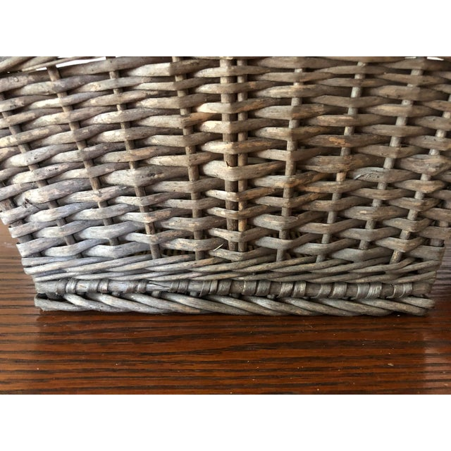 Antique Wicker Basket With Handle For Sale - Image 10 of 12