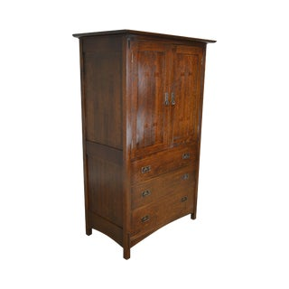 Stickley Mission Collection Oak Gentleman's Armoire Cabinet For Sale
