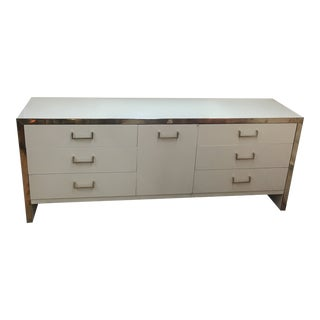 Mid-Century Modern Ivory Lacquer and Brass Credenza For Sale
