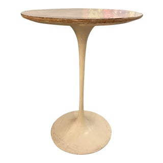 Small White Round Bistro Table Glossy Finish