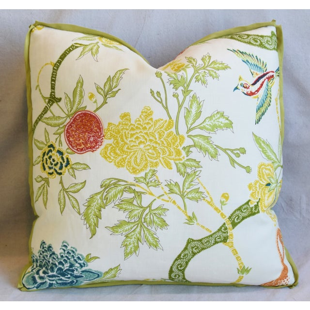"""Early 21st Century Schumacher Arbre Chinois Meadow Chinoiserie Linen & Scalamandre Mohiar Pillows 21"""" Square - Pair For Sale - Image 5 of 13"""