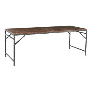 Iron & Teak Folding Dining Table For Sale