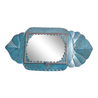 Vintage Blue Metal Scalloped Shadow Box Frame For Sale