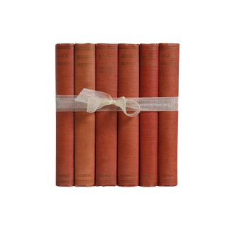 Vintage Book Gift Set: Weathered Red Philosophy, S/6 For Sale