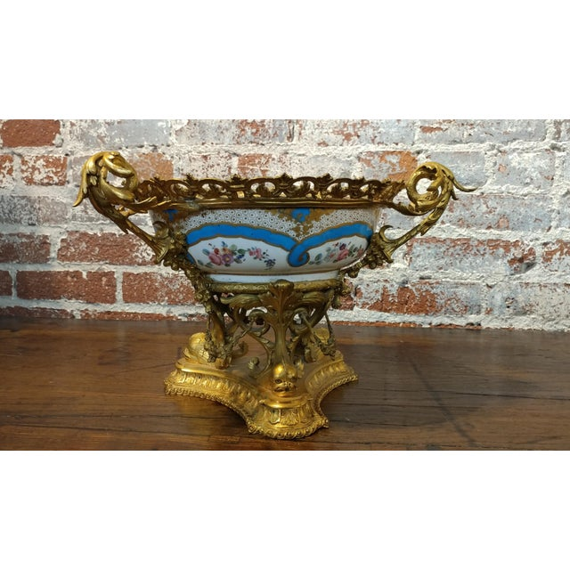 """19th century Beautiful French Sevre Porcelain & Gilt Bronze Center piece. size 9"""" x14"""" x14"""" A beautiful piece that will..."""