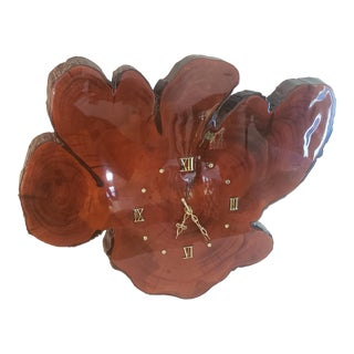 Vintage Mid-Century Cypress Live Edge Wood Wall Clock For Sale