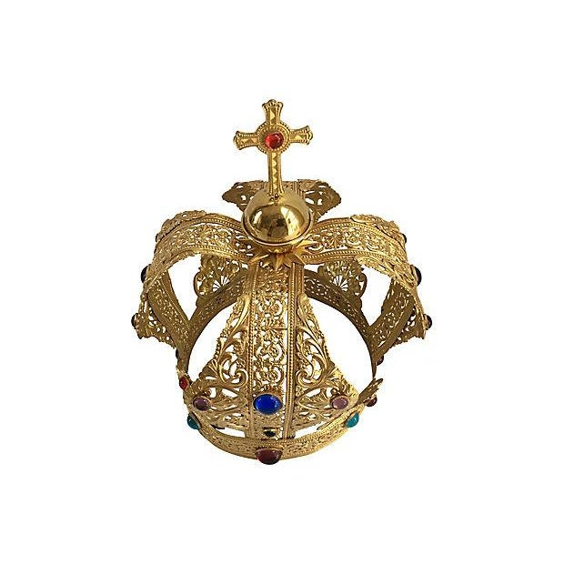 Gorgeous brass filigree crown set with multicolored cabochon stones. Hard to find in excellent vintage condition....