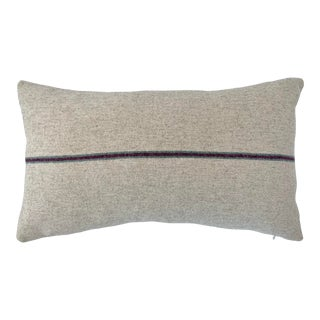 Italian FirmaMenta Eco-Friendly Burgundy and Sage Green Stripes Cream Wool Lumbar Pillow For Sale