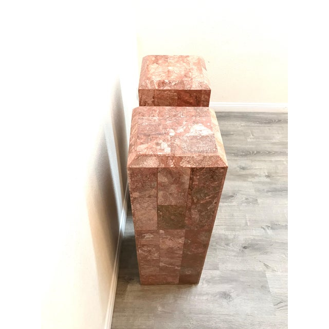 1970s Vintage Tessellated Regency Marble Pedestals - a Pair For Sale - Image 5 of 11