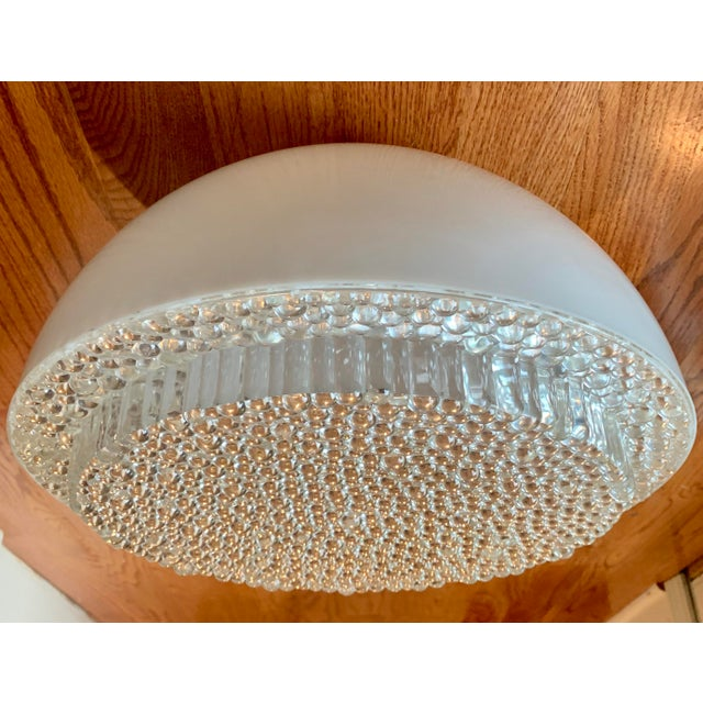 Mid Century Modern Opaque Resin Dome Pendant With Textured Light Diffuser For Sale - Image 9 of 9