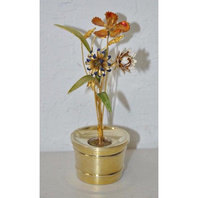 Gorham Sterling & Enamel Flower Arrangement Figure - Image 2 of 7