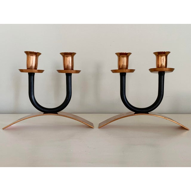 1960s Mid-Century Minimalist Black and Copper Candle Holders - Set of 2 For Sale - Image 4 of 10