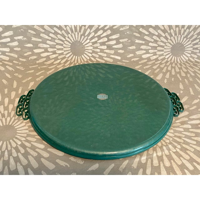 1950s 1950s Moiré Glaze Kyes Green California Handmade Tray For Sale - Image 5 of 7