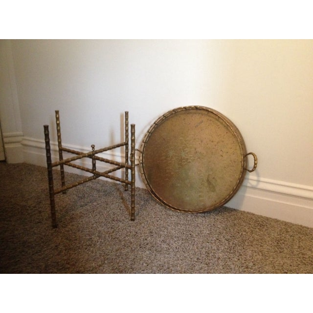 Traditional Antique Brass Bamboo Tray Table For Sale - Image 3 of 7