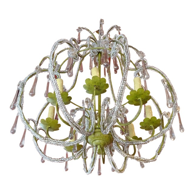French Beaded Crystal Chandelier For Sale