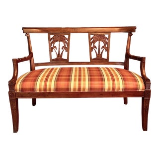 Tommy Bahama Style Carved Bench For Sale