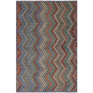 Contemporary Kristie Blue/Red Hand-Woven Kilim Wool Rug - 7'0 X 9'7 For Sale