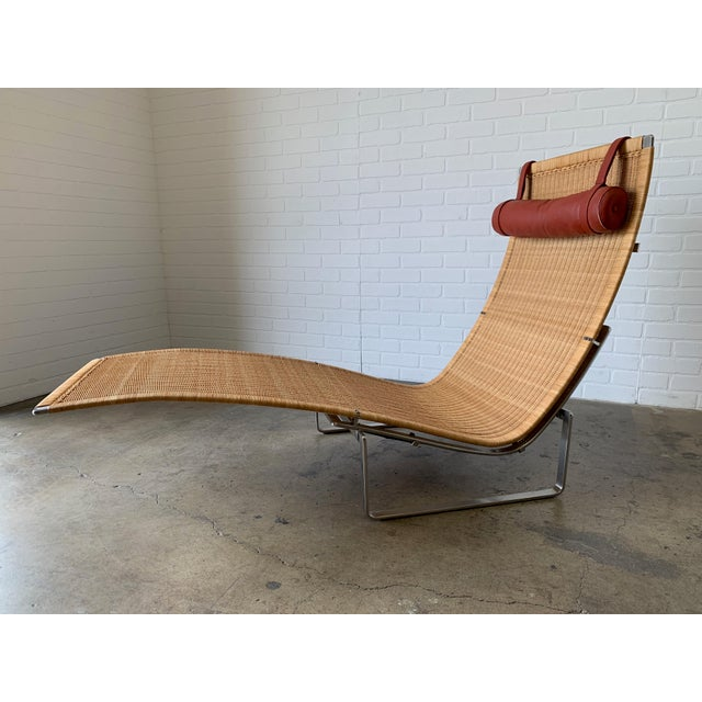 Mid-Century Modern Poul Kjærholm Pk 24 Chaise Lounge With Wicker Seat for Fritz Hansen For Sale - Image 3 of 12