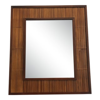 Mid-Century Bamboo Reed Mirror For Sale