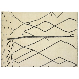 Contemporary Moroccan Rug With Tribal Line Art Design - 10'02 X 13'10 For Sale