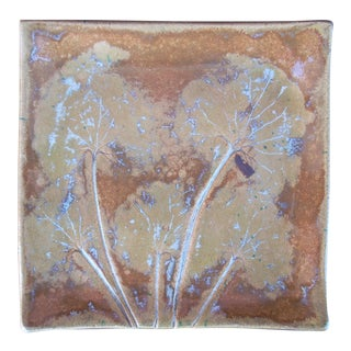 Raku Style Ceramic Art Plate For Sale