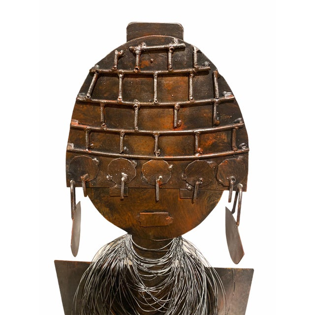 Late 20th Century Late 20th Century Modernist Style African Queen Metal Sculpture For Sale - Image 5 of 11