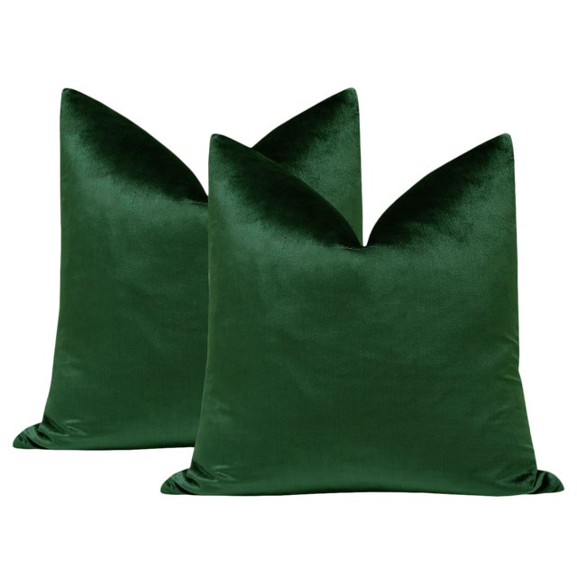 "22"" Italian Silk Velvet Pillows in Emerald - a Pair For Sale"